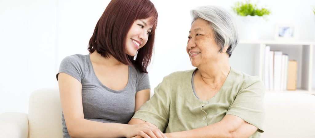 Grandmother,And,Granddaughter.,Young,Woman,Carefully,Takes,Care,Of,Old